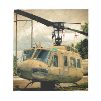 Vintage Vietnam Era Uh-1 Huey Military Helicopter Notepad