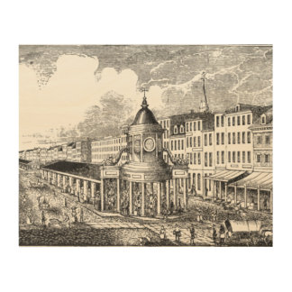 Vintage View of Merchant's Exchange WoodSnap Print