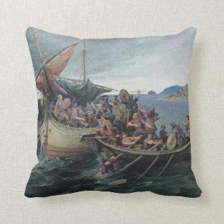 Vintage Viking Naval Battle Artwork Cushion