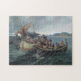 Vintage Viking Naval Battle Artwork Jigsaw Puzzle
