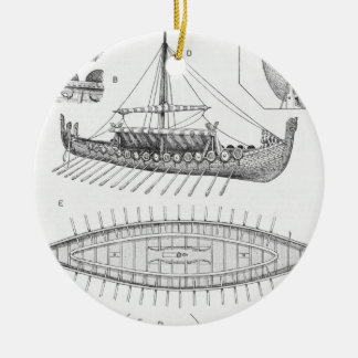 Vintage Viking Naval Ship History and Diagram Ceramic Ornament