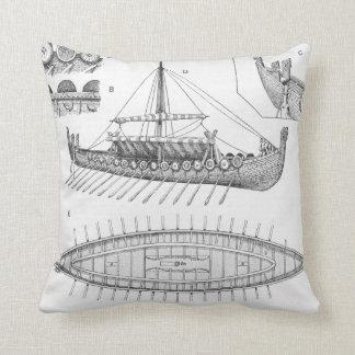 Vintage Viking Naval Ship History and Diagram Cushion