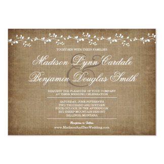 Vintage Vines Distressed Rustic Wedding Invitation