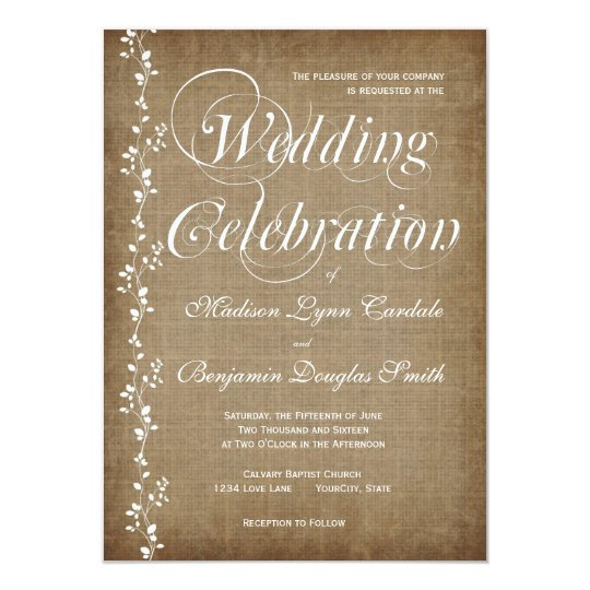 Vintage Vines Rustic Country Wedding Invitations