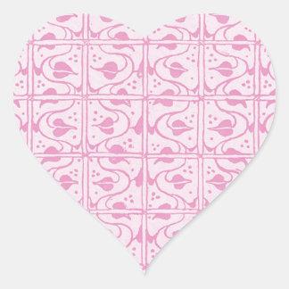 Vintage Vines White Pink Heart Stickers