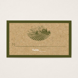 Vintage vineyard and cork olive wedding place card