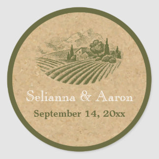 Vintage vineyard and cork wedding Save the Date Classic Round Sticker