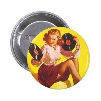 Vintage Vinyl Girl 6 Cm Round Badge