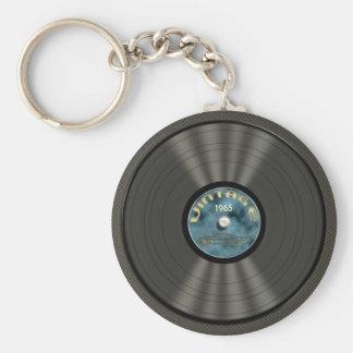 Vintage Vinyl Record (blue) Keychain