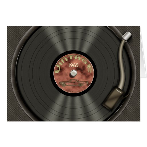 Vintage Vinyl Record (red) Cards