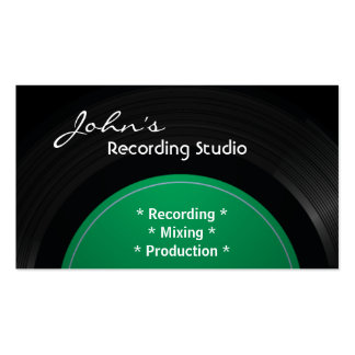 Vintage Vinyl Recording Studio Business Card-Green Pack Of Standard Business Cards
