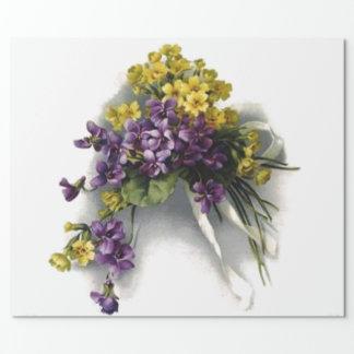 Vintage Violet Bouquet Bridal Shower Wrapping Paper