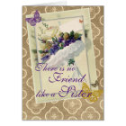 Vintage Violet Bouquet Sister and Friend Birthday Card