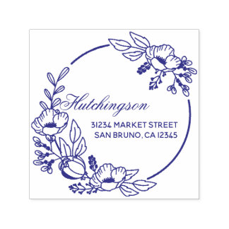 Vintage Violet Hand-drawn Wreath Return Address Self-inking Stamp