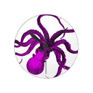 Vintage Violet Octopus Design Wallclock