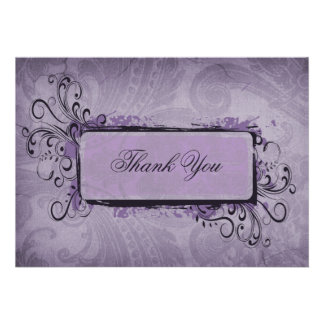 vintage violet  Thank You Card Personalized Announcements