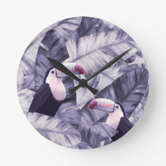 Vintage Violet Toucan Tropical Banana Leaves Round Clock