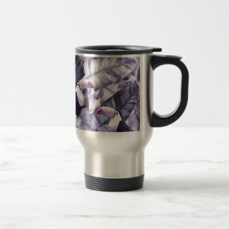 Vintage Violet Toucan Tropical Banana Leaves Travel Mug