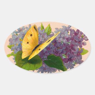 Vintage Violets and Butterfly Oval Sticker