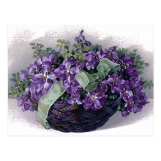 Vintage Violets Basket Postcard