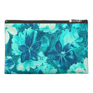 Vintage Violets Blue Teal Peacock Turquoise Travel Accessories Bag