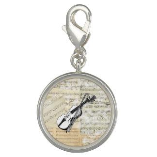 Vintage Violin Music Charm Bracelet