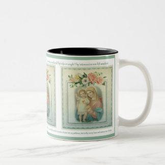 Vintage Virgin Mary with Jesus  Memorare Prayer Two-Tone Coffee Mug
