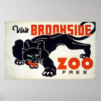 "Vintage ""Visit Brookside Zoo"" Black Panther WPA Poster"
