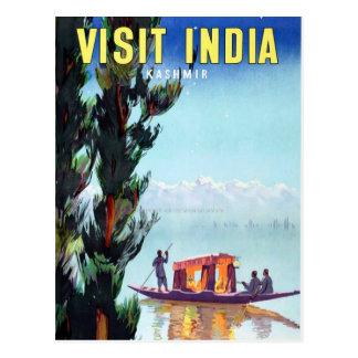 Vintage Visit India Kashmir Travel Postcard