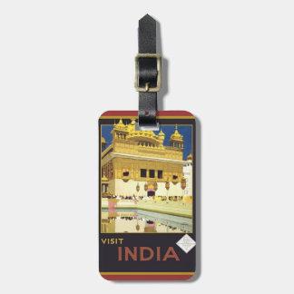 Vintage Visit India Luggage Tag