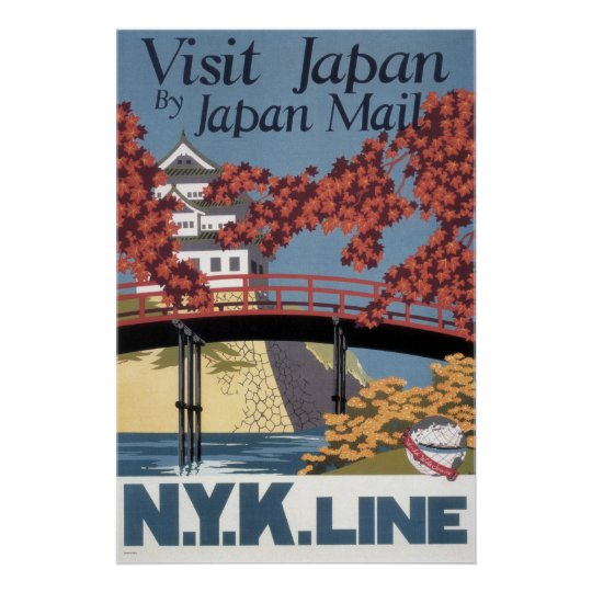 Vintage Visit Japan Railroad Red Maples and Temple Poster