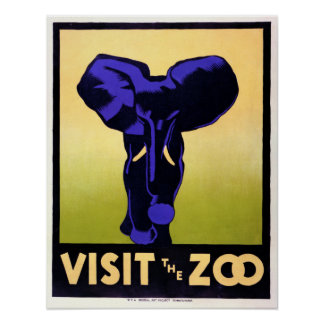 Vintage Visit the Zoo Elephant Poster