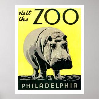Vintage Visit the Zoo Philadelphia Hippo Poster
