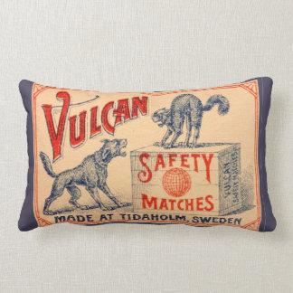 Vintage Vulcan Safety Match Label Lumbar Pillow