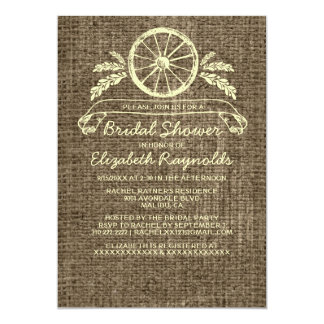 Vintage Wagon Wheel Bridal Shower Invitations