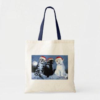 Vintage Wain Christmas Santa Cats Choir Tote Bag
