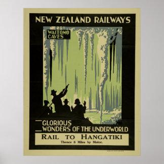 Vintage Waitomo Caves New Zealand Travel Poster