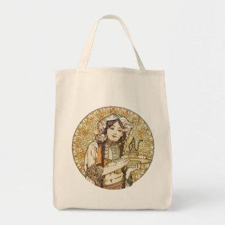 Vintage Waitress Art Nouveau Canvas Bags