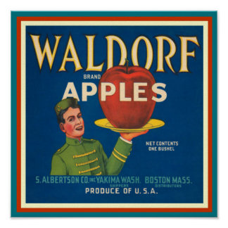 Vintage Waldorf Apples Poster 12 x 12