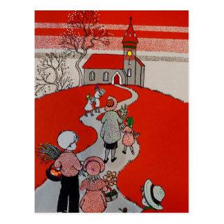 Vintage Walk to Church Postcard