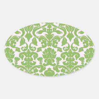 Vintage Wall Paper Oval Sticker