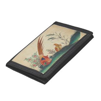 Vintage wallet with birds and flowers