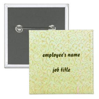 Vintage Wallpaper Employee Name Tag Button