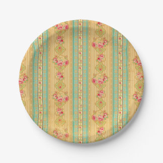 Vintage wallpaper look paper plates