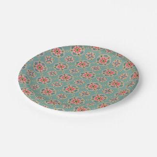 Vintage wallpaper paper plates pink and aqua