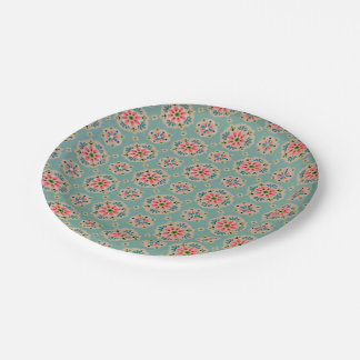 Vintage wallpaper paper plates pink and aqua 7 inch paper plate