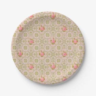 Vintage wallpaper pattern paper plates pink