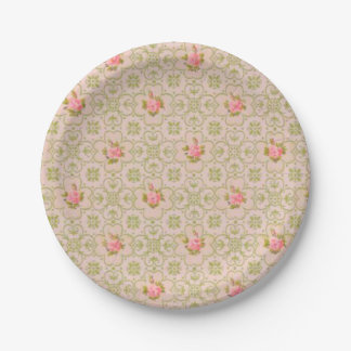 Vintage wallpaper pattern paper plates pink 7 inch paper plate