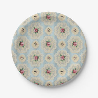 Vintage wallpaper pink blue floral paper plates 7 inch paper plate