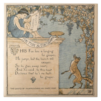 Vintage Walter Crane: The fox and the grapes Tile